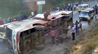 A bus that overturned on the way to the airport in Mombasa.