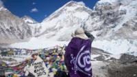 Trekker at Everest base camp, 15 April photo