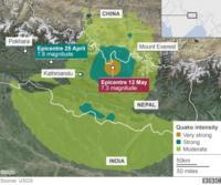 mapa mostrando epicentro do terremoto - Namche Bazar - 12 de maio de 2015