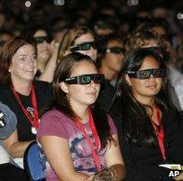 People wearing 3D glasses