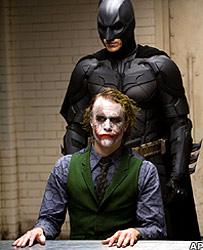Heath Ledger and Christian Bale in Batman: The Dark Knight