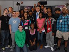 Gordon Brown with young people at 1Xtra