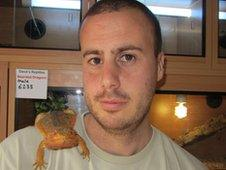 Dave Marsden with a dragon lizard