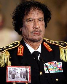 Colonel Gaddafi in military uniform, pictured at a G8 conference in 2009