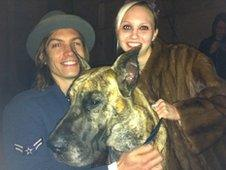 Ian Mellencamp, 27, and 26 year old Chloe Veneneux with their dog Alexii