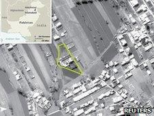 An aerial view of the compound where Osama bin Laden was killed