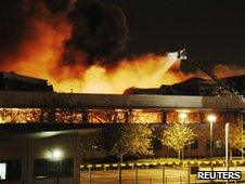 Sony DADC's warehouse in Enfield, north London, on fire