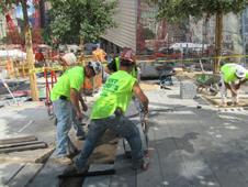 Workers at memorial site