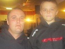 Dad Nick Hartley allows his son Kian to take part in cage fighting