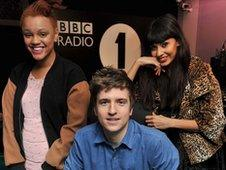 Gemma Cairney, Greg James and Jameela Jamil