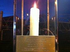 Candle outside barracks