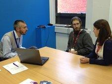 Ben and Samina with careers advisor Rob Hicks