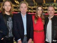 Tim Minchin, Andrew Lloyd Webber, Mel C and Chris Moyles