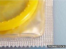 A stock image of a condom