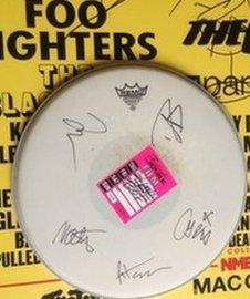 Foo Fighters signed drum skin