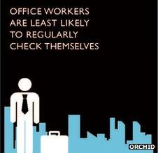 "Infographic showing stylised stick man in a suit and the caption: ""Office workers are least likely to regularly check themselves""."
