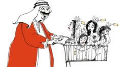 Arab man pushing shopping trolley full of women