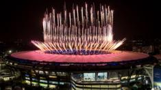 Fireworks at the Rio Olympics opening ceremony