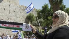 Palestinian woman holds 'Palestine' scarf in front of pro-Israel rally in Jerusalem (file photo)