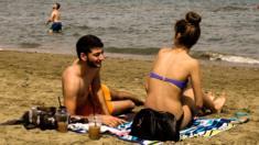 Couple on beach near Larnaca in Cyprus