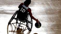 A Paralympic basketball player practising in Rio, Brazil - September 2016