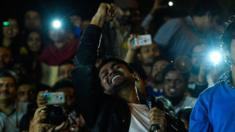 Indian student union leader Kanhaiya Kumar shouts slogans as he addresses students and activists at Jawaharlal Nehru University in New Delhi on 3 March 2016.