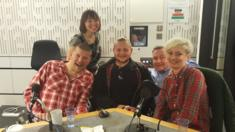 Podcast studio with Harriet Dyer, Simon Minty, Jack Binstead, Laurence Clark and Kate Monaghan