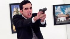 Police officer Mevlut Mert Altintas after he shot Andrei Karlov at Modern Art Center in Ankara
