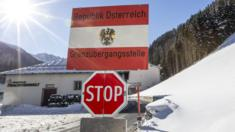 A border sign at the border post between Tyrol, Austria, and South Tyrol, Italy (19 Jan)