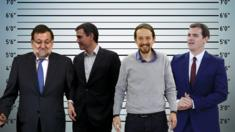 A composite image showing Mariano Rajoy, Pedro Sanchez, Pablo Inglesias and Albert Rivera set against an ID parade