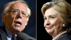 This combination of file photos shows Democratic presidential hopefuls Bernie Sanders(L)on March 31, 2016 and Hillary Clinton on March 30, 2016,