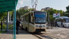 A tram in Tashkent