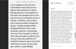 La publicación de Instagram de Bieber