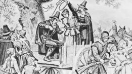 Un grabado que muestra la ejecución en la horca de Bridget Bishop