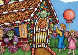 Hänsel y Gretel en la casa con la bruja