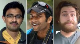 De izquierda a derecha: Srinivas Kuchibhotla, que murió; y Alok Madasani y Ian Grillot, que quedaron heridos.