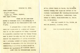 Carta del eugenesista de EE.UU. Charles Benedict Davenport (1866-1944) hablando de la aceptación de la eugenesia en Austria y Alemania.