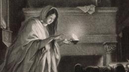 Un grabado de Lady Macbeth caminando dormida