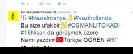رسالة تركها المهاجمون على حساب تويتر لمنظمة العفو الدولية