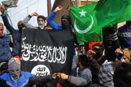 Jóvenes enmascarados con banderas de Pakistán y de Estado Islámico.