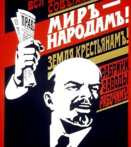 Poster con propaganda soviética de los años 20
