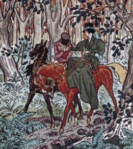 Ilustración para la novela hecha por Pierre Brissaud en 1921 mostrando el paseo por el bosque de Rodolfo y Emma Bovary.