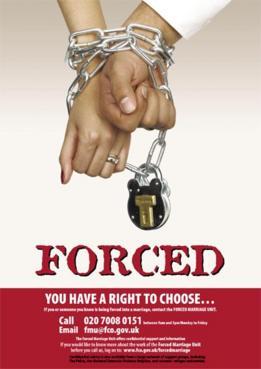 Cartel sobre el matrimonio forzado