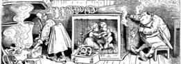 Ilustración de pareja de adultos con pareja de niños enjaulados.