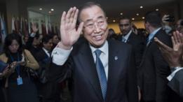 الأمين العام للأمم المتحدة السابق بان كي مون يودع زملائه