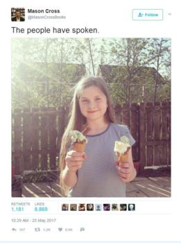 Mr Bell - aka Mason Cross - tweeted a picture of his daughter smiling with ice-cream