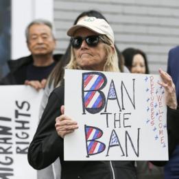 Protesta contra el veto mgratorio de Donald Trump