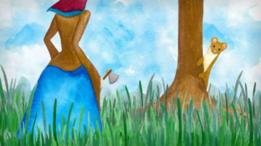 Dibujo en témpera de una mujer tras una comadreja que se esconde tras un árbol