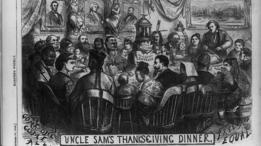 En esta representación gráfica de una cena de Acción de Gracias en 1869, aparece el Tío Sam rebanando el pavo.