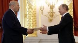 السفير الإسرائيلي، غاري كورن، في حفل استلام أوراق اعتماده من طرف الرئيس الروسي، فلاديمير بوتين، يوم الخميس 16 مارس / آذار 2017